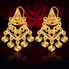 Women Heart Bead Embellishment 18k Gold Plated Drop Earrings - GOLDEN