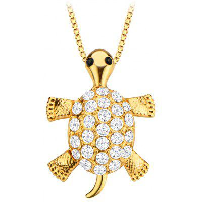 Activity Turtle Head Leg Tail Crystal Embellished 18k Gold Plated Necklace