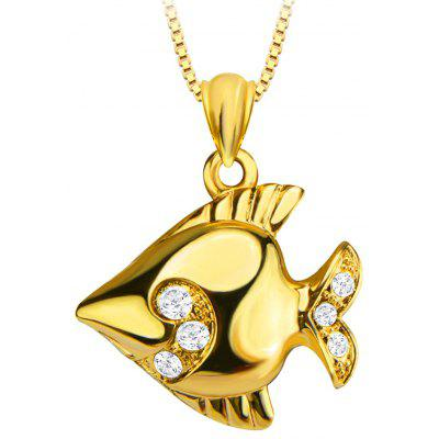 Tropical Fish Pendant Crystal Embellished 18k Gold Plated Necklace