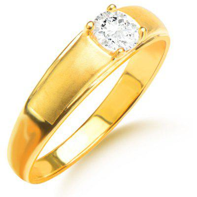 Unisex Rhinestone Embellished 18K Gold Plated Ring