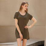 Casual Scoop Collar Short Sleeve Front Pocket Asymmetrical Solid Color Women T-Shirt Dress - BROWN