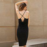 Cross Strap Design Sheathy Tea Length Suspender Dress - SILVER