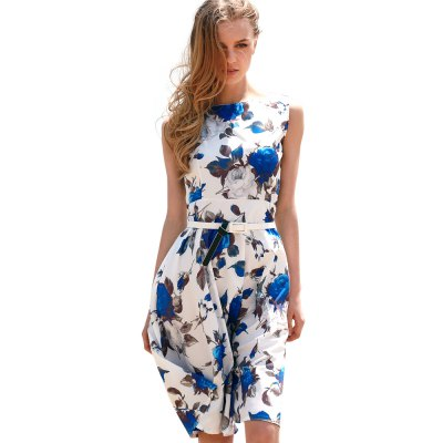 Vintage Round Collar Sleeveless Floral Print Patchwork Ball Gown Slim Knee-length with Belt Women Dress