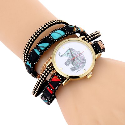 Women Quartz Bracelet Watch Elephant Pattern Wristwatch