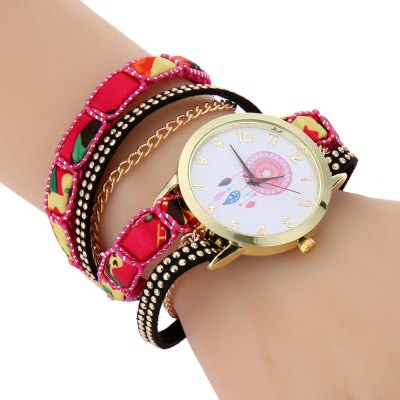 Women Quartz Bracelet Watch Aeolian Bells Pattern Wristwatch