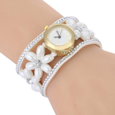 Women Quartz Bracelet Watch Artificial Pearl Flower Strap Wristwatch