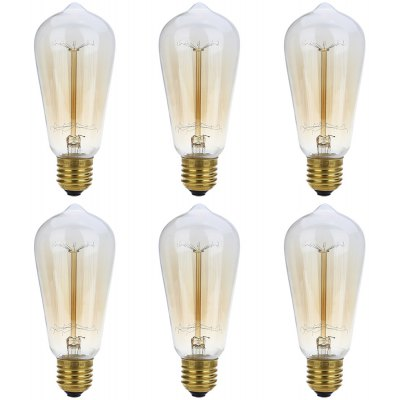 Buy TRANSPARENT GOLD Lightme 6pcs ST58 230V 40W E27 110 120LM 19AK Retro Tungsten Light Bulb for $23.47 in GearBest store