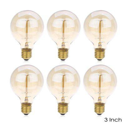 Lightme 6pcs G80 230V 40W E27 110 - 120LM 19AK Retro Tungsten Light Bulb
