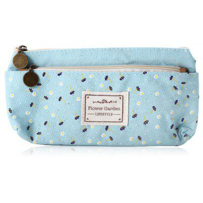 Flower Garden Floral Canvas Stationery Pouch Bag Case