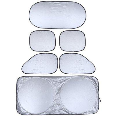 6pcs Set Silver Coating Car Sunshade Visor with Carrying Bag