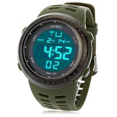 SKMEI 1167 Men LED Digital Sport Watch Big Round Dial Wristwatch