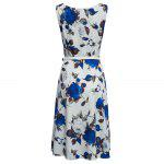 Vintage Round Collar Sleeveless Floral Print Patchwork Ball Gown Slim Knee-length with Belt Women Dress photo
