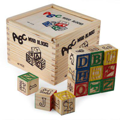 48pcs Vintage Alphabet Wood Blocks Toy