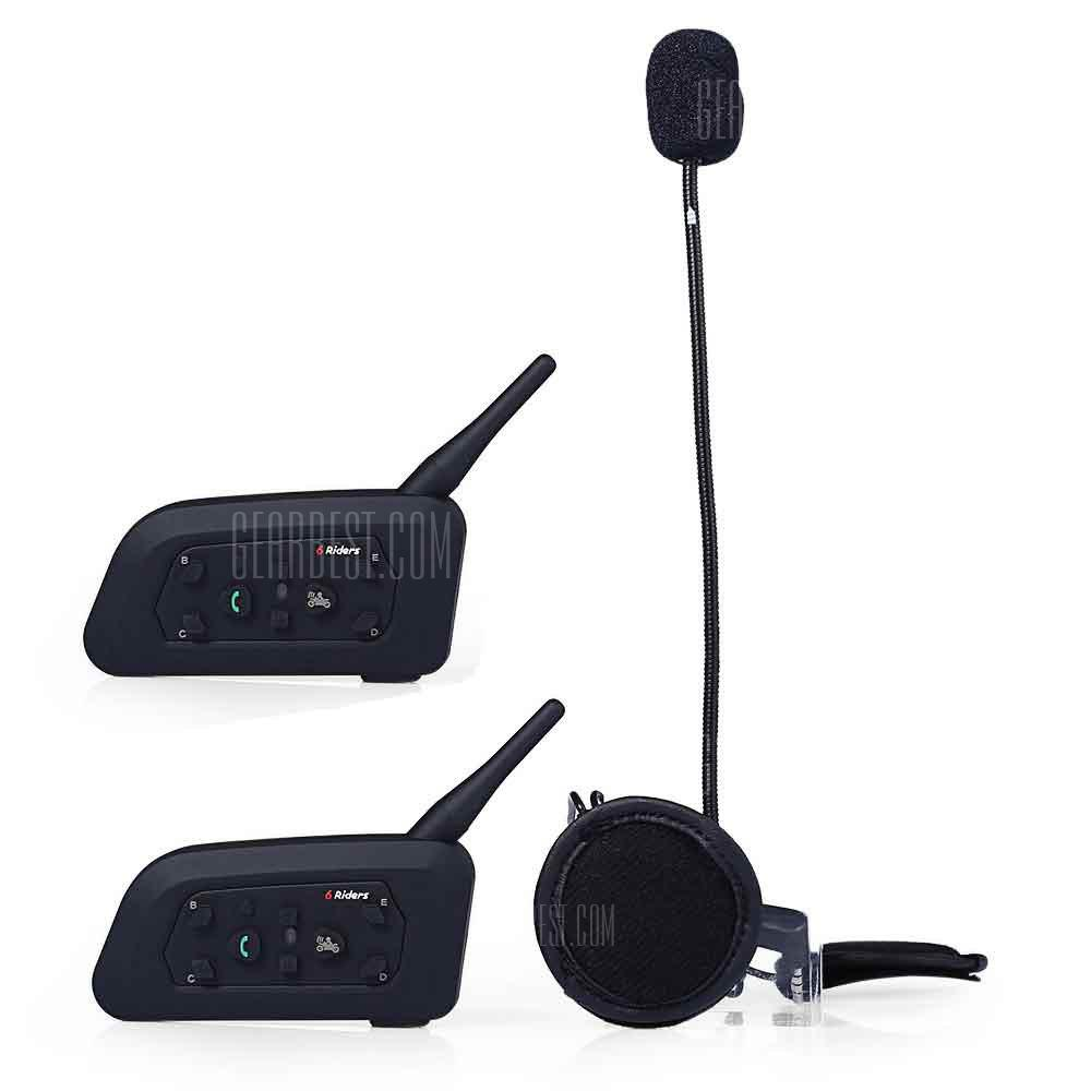 VNETPHONE V6 - 1200M Motorsykkelhjelm Bluetooth 3.0 Intercom 2pcs - BLACK 2PCS