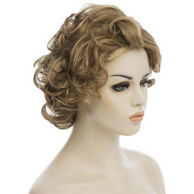 Beauty European Style Side Bang Golden Brown Short Curly High-Quality Synthetic Hair Women's Bouffant Wig