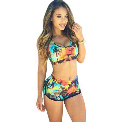 Sexy Scoop Collar Printed Crop Top + Mid Waist Skinny Shorts Women Two Piece Bikini Set