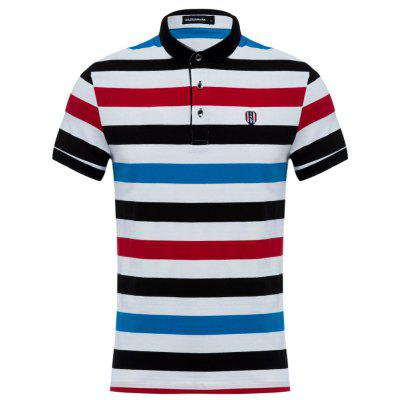DZW Casual Turn Down Collar Short Sleeve Color Striped Men Polo Shirt