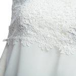 Sweet Boat Neck Sleeveless Lace Patchwork Hollow Out Solid Color Chiffon Women T-shirt - WHITE