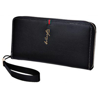 Unisex Letter Embellishment Detachable Strap Zipper Clutch Wrist Wallet