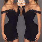Sexy Sweetheart Neck Lacework  Zippered Skinny Women Mini Dress - BLACK