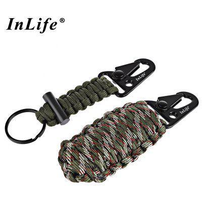 Inlife Paracord Outdoor Utility Flint Fire Starter Fishing Tools with Lanyard Key Chain