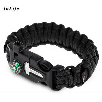 Buy BLACK Inlife Flint Lifesaving Compass Whistle Bracelet Outdoor Tool for $3.15 in GearBest store