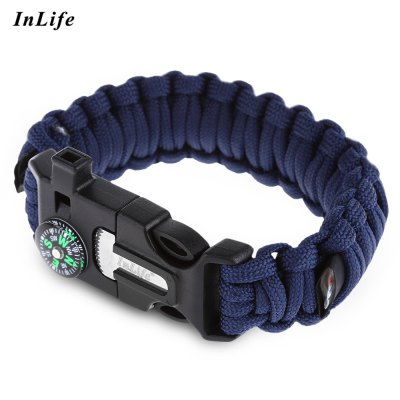 Inlife Flint Lifesaving Compass Whistle Bracelet Outdoor Tool