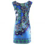 Elegant Round Collar Sleeveless Print Sheath Mini Women Dress - COLORMIX