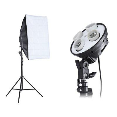 3-in-1 Photo Studio Kit 4 Lamp Holder  2m Light Stand 50 x 70cm Soft Box