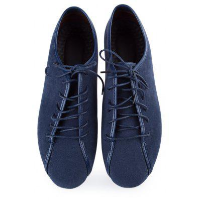 Casual Breathable Leather Pure Color Lace Up Flats Zapatillas for Male