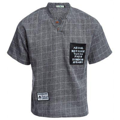 Buy DEEP GRAY Street Style Stand Collar Short Sleeve Plaid Print Men Blouse for $17.04 in GearBest store
