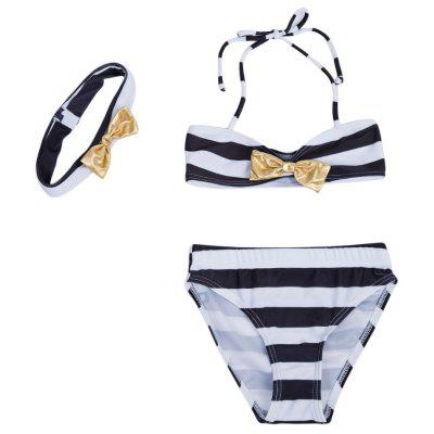 3pcs Bowknot Striped Strap Bikini Swimsuit with Hairband for Girls