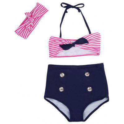 3pcs Striped Bowknot High Waist String Girls Bikini Swimsuit with Headband