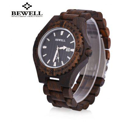 BEWELL ZS - W023A Wooden Date Quartz Wrist Watch for Men