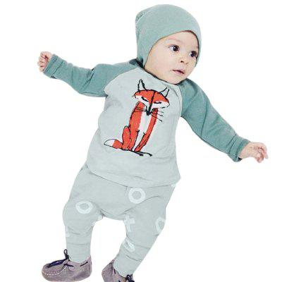 2pcs Babies Long Sleeve Round Collar Fox Top Pattern Printed Pants Clothing Set with Hat
