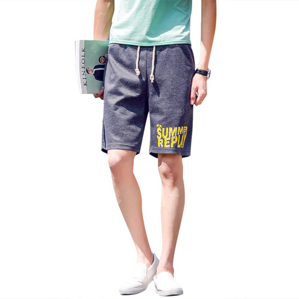 Elastic Letter Print Drawstring Men Casual Shorts