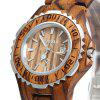 BEWELL ZS-100BL Metal Case Wooden Women Quartz Watch - ZEBRA WOOD