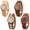 BEWELL ZS-100BL Metal Case Wooden Women Quartz Watch - RED SANDALWOOD AND MAPLE WOOD