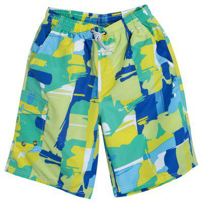 Trendy Drawstring Color Block Printed Waterproof Men Beach Shorts
