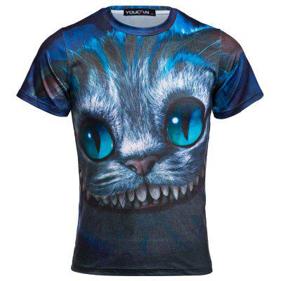 Buy BLUE Novelty Round Neck Short Sleeve 3D Cat Print Men T-Shirt for $11.52 in GearBest store