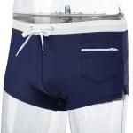 Sexy Men Drawstring Color Block Beach Wear Boxers - CADETBLUE