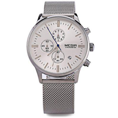 MEGIR M2011 Men Fashion Quartz WatchMens Watches<br>MEGIR M2011 Men Fashion Quartz Watch<br><br>Band Length: 8.12 inch<br>Band Material Type: Stainless Steel<br>Band Width: 22 mm<br>Case material: Alloy<br>Case Shape: Round<br>Clasp type: Hook Buckle<br>Dial Diameter: 1.62 inch<br>Dial Display: Analog<br>Dial Window Material Type: Hardlex<br>Feature: Luminous, Date, Chronograph<br>Gender: Men<br>Movement: Quartz<br>Package Contents: 1 x MEGIR M2011 Men Quartz Watch<br>Package Size(L x W x H): 25.80 x 5.50 x 1.90 cm / 10.16 x 2.17 x 0.75 inches<br>Package weight: 0.1080 kg<br>Product Size(L x W x H): 24.80 x 4.50 x 0.90 cm / 9.76 x 1.77 x 0.35 inches<br>Product weight: 0.0870 kg<br>Style: Business<br>Water Resistance Depth: 30m