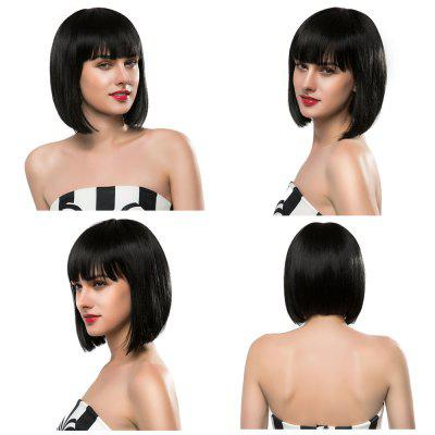 EMMOR Full Bangs Short Straight Bob Human Hair Wigs