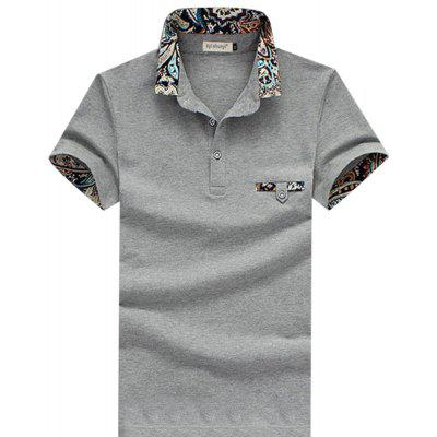 Buy GRAY Men Stylish Turn Collar Short Sleeve Spliced Printed Sheathy Shirt for $15.63 in GearBest store