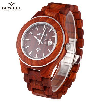BEWELL ZS - W100AG Male Wooden Quartz Watch
