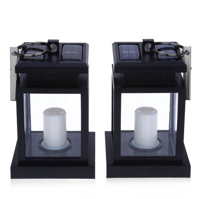 2PCS Solar Powered LED Outdoor Candle Lantern