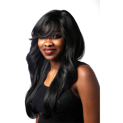 African Wig Partial Black Bangs Wavy Long Curly Hair