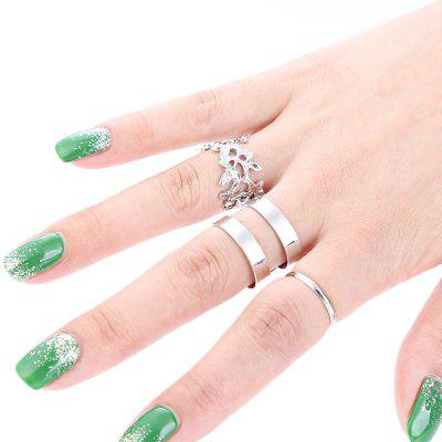 3pcs Leaf Open Design Ladies Alloy Rings