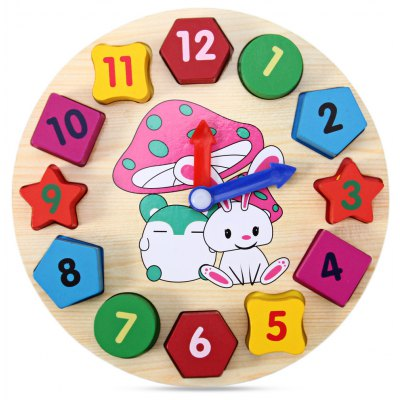 Wooden Blocks Toys Digital Geometry Clock