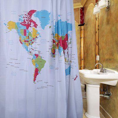 Polyester Shower Curtain with 12 Plastic Hooks